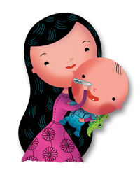 Mom and baby illustration