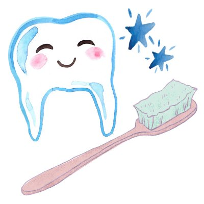 Watercolor illustration of a smiling, anthropomorphic tooth with shining stars next to it and a large pink toothbrush