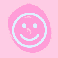 light blue smiley face on pink background