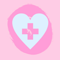 light blue heart with cross on pink background
